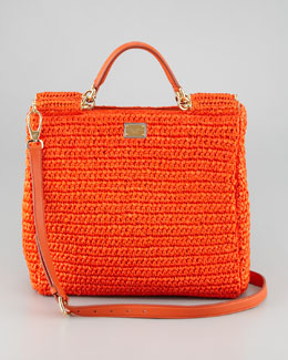 Dolce & Gabbana New Miss Sicily Crochet Tote Bag, Orange