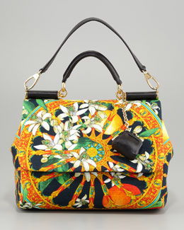 Dolce & Gabbana Miss Sicily Soft Canvas Print Bag