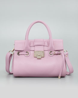 Jimmy Choo Rosalie Grainy Calf Satchel Bag, Peony