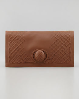 Bottega Veneta Ricamo Rete Fold-Over Clutch, Brown