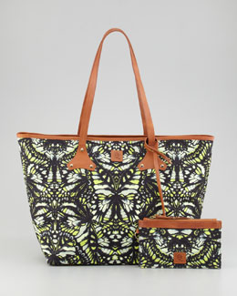 McQ Alexander McQueen Butterfly-Print Canvas Shopper Tote Bag