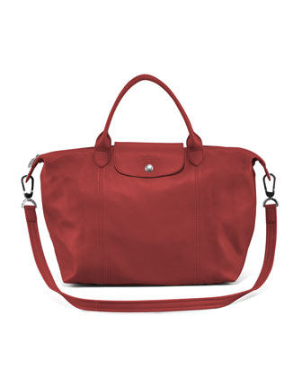 Le Pliage Cuir Medium Handbag with Strap, Red