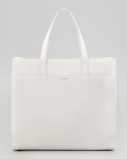 Saint Laurent Flat Shopping Tote Bag, Off White