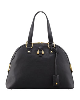 Saint Laurent Muse Medium Calfskin Dome Bag, Black