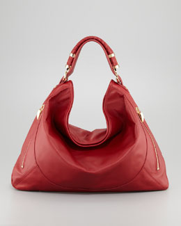 Rachel Zoe Joni Leather Zipper Hobo Bag, Cherry