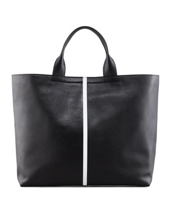 Track Leather Tote Bag, Black