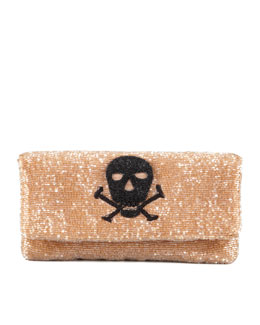 Moyna Skull Beaded Fold-Over Clutch Bag, Taupe