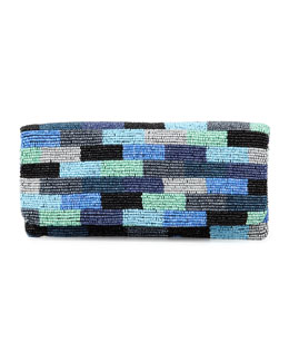 Moyna Colorblock Beaded Fold-Over Clutch Bag, Blue