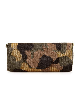 Moyna Camouflage Beaded Clutch Bag, Olive