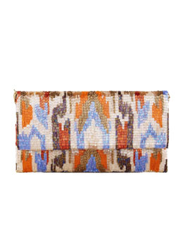 Moyna Ikat Beaded Large Fold-Over Clutch Bag, Orange