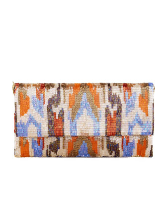 Ikat Beaded Large Fold-Over Clutch Bag, Orange