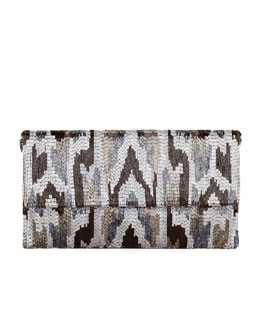 Moyna Ikat Beaded Large Fold-Over Clutch Bag, Pewter