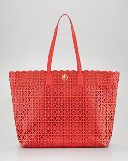 Tory Burch Kelsey Laser-Cut East-West Tote Bag, Red