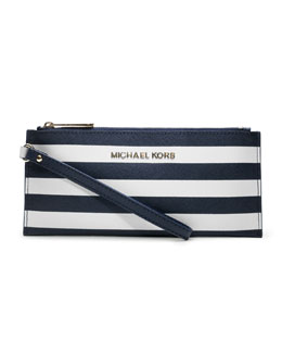 MICHAEL Michael Kors  Small Jet Set Striped Zip Pouch
