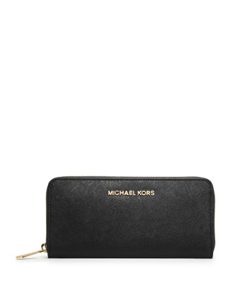 Jet Set Saffiano Continental Saffiano Wallet, Black