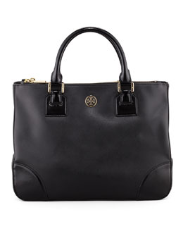 Tory Burch Robinson Double-Zip Tote Bag, Black