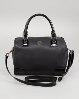 Tory Burch Robinson Middy Satchel Bag, Black