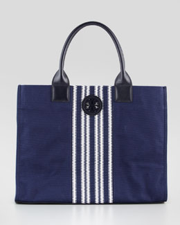 Tory Burch Ella Striped Canvas Tote Bag, Navy