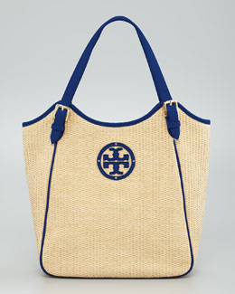 Tory Burch Small Slouchy Straw Tote Bag
