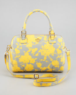 Tory Burch Robinson Middy Satchel Bag, Yellow/Gray