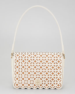 Tory Burch Kelsey Laser-Cut Shoulder Bag, White