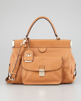 Tory Burch Priscilla Small Framed Satchel Bag, Tan