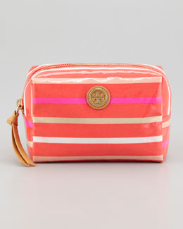 Tory Burch Brigitte Cosmetic Case, Red Stripes