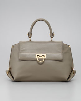 Salvatore Ferragamo Sofia Satchel Bag, Light Gray