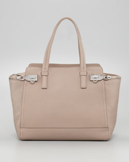 Salvatore Ferragamo Verve Zipper Tote Bag, Almond