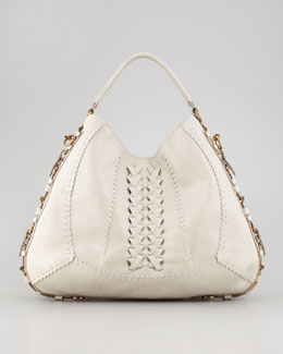 Salvatore Ferragamo Fergie Braided Leather Gancini Hobo Bag, Clay