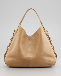 Salvatore Ferragamo Fergie Gancini Chain Hobo Bag, Tan