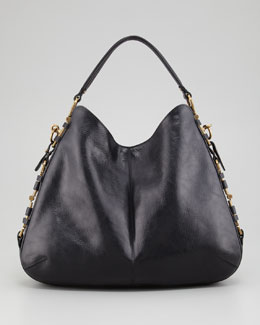 Salvatore Ferragamo Fergie Gancini Chain Hobo Bag, Black