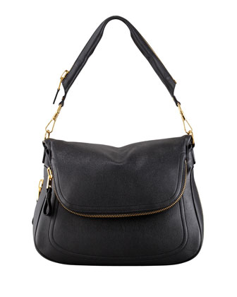 Jennifer Large Calfskin Shoulder Bag, Black