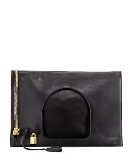 Tom Ford Lock Flat Fold-Over Bag, Black