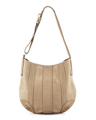 Rowen Suede Hobo Bag, Tan