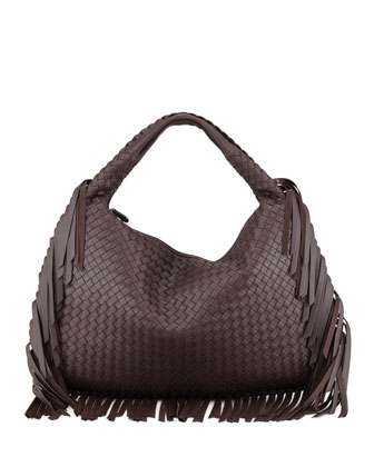 Veneta Large Fringed Hobo Bag, Dark Brown