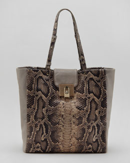 Lanvin For Me Snake-Embossed Shopping Tote, Gray