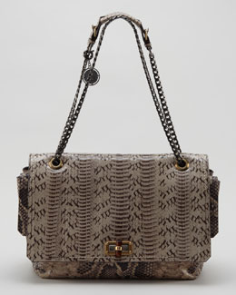 Lanvin Happy Large Snakeskin Shoulder Bag, Beige