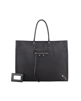 Balenciaga Giant 12 Nickel Papier A4 Leather Tote Bag, Black