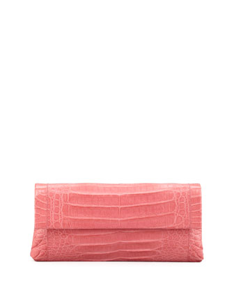 Crocodile Flap Clutch Bag, Pink