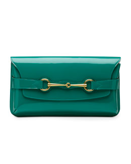 Gucci Bright Bit Patent Leather Clutch Bag, Teal