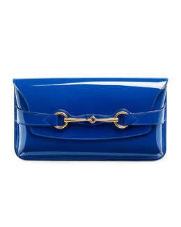Gucci Bright Bit Patent Leather Clutch Bag, Sapphire