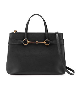 Gucci Bright Bit Medium Leather Tote Bag, Black
