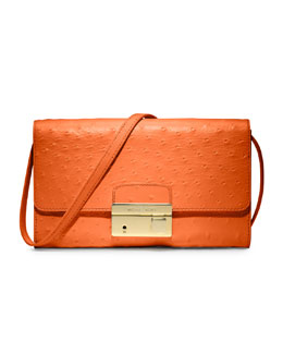 Michael Kors  Gia Ostrich-Embossed Clutch