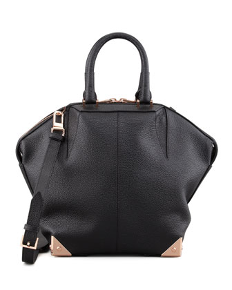 Small Emile Tote Bag, Black/Rose Golden