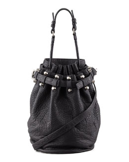 Alexander Wang Diego Bucket Bag, Black/Nickel Hardware