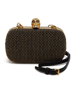 Alexander McQueen Studded Suede Skull Box Clutch Bag, Black