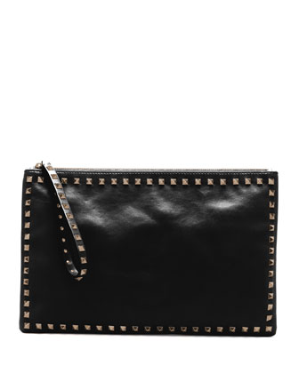 Rockstud Leather Clutch Bag, Black