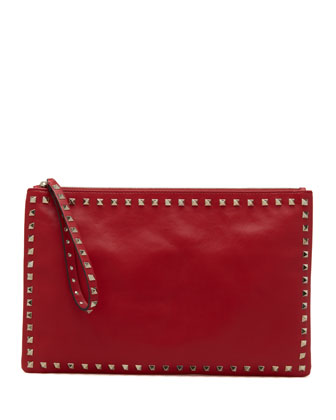 Rockstud Zip Clutch, Red