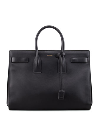 Classic Sac De Jour Leather Tote Bag, Black
